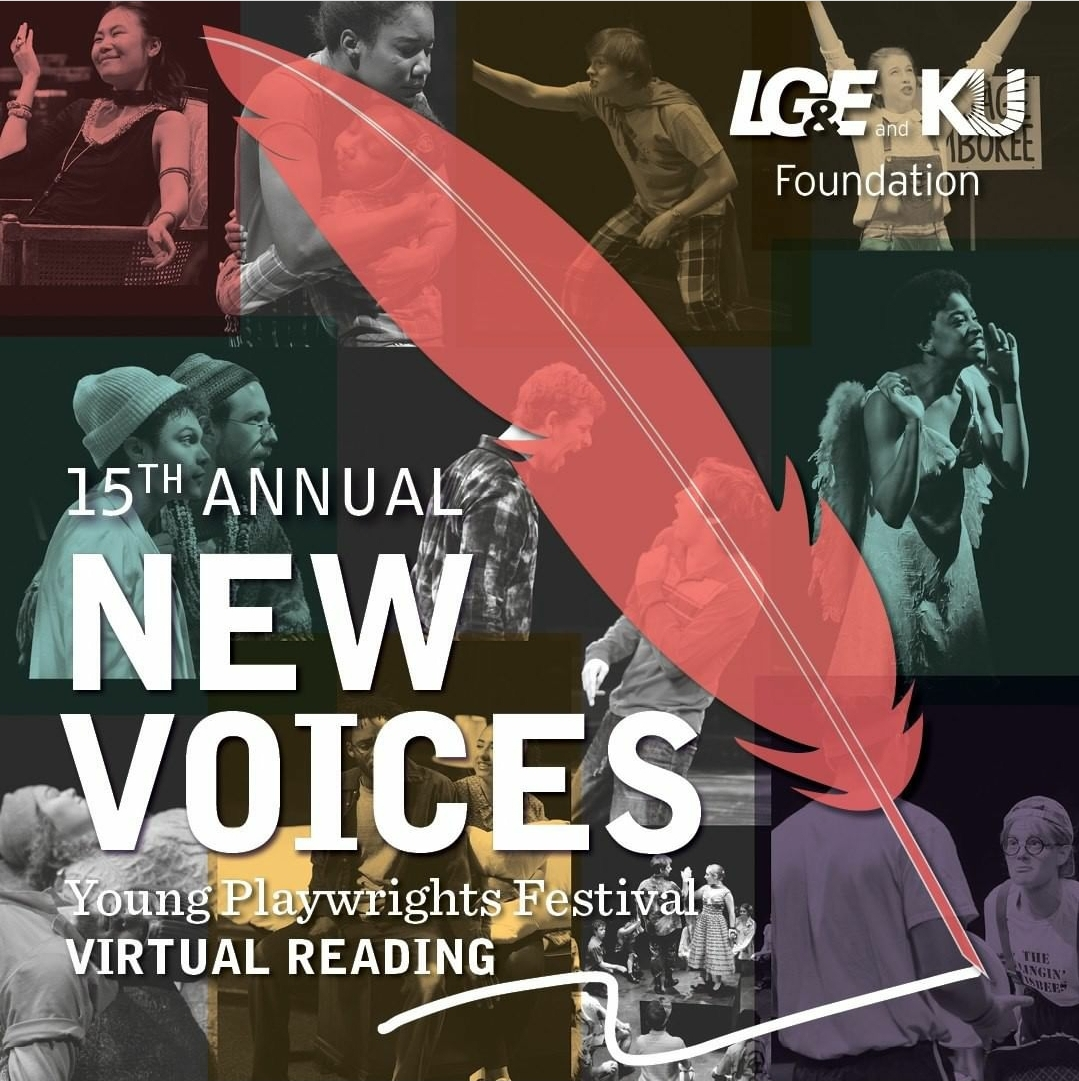 "A photo reads ""15th Annual New Voices Young Playwrights Festival Virtual Reading"". A large translucent red quill spans the middle of the image, behind it are productions stills in black and white, some layered with the colors, purple, red, green and yellow."