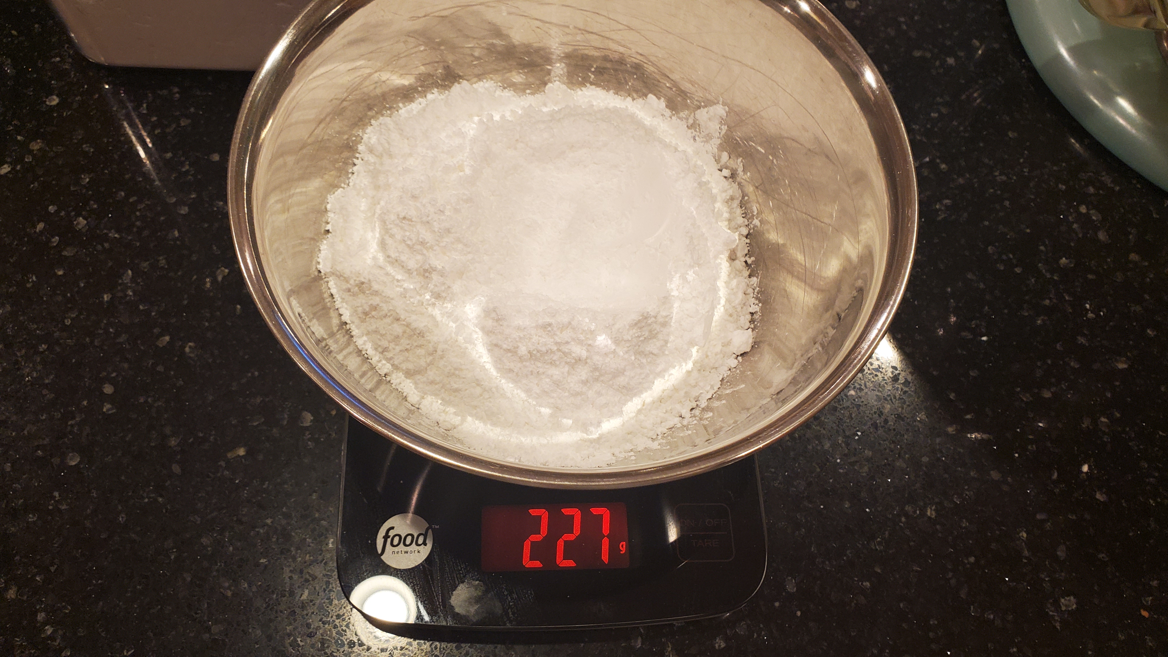 food network food scale weighing powdered sugar.